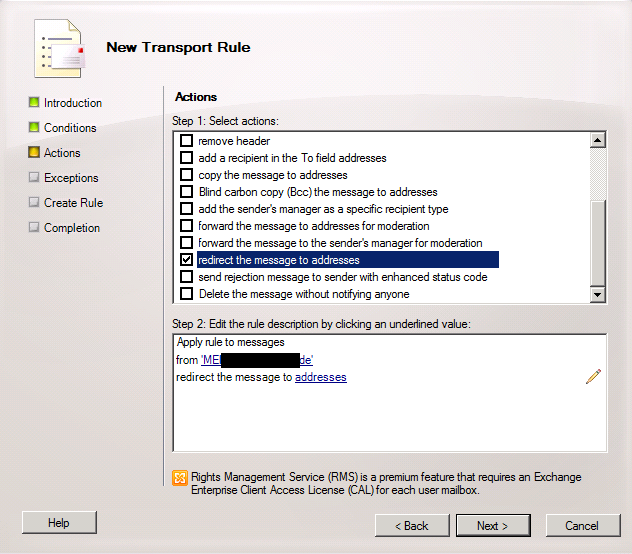 How To Create Simple Forward Rule on the Hub Transport Server in